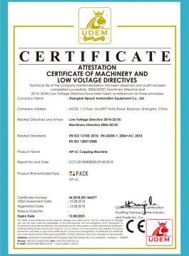 Certificato CE di tappatrice